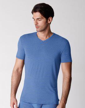 T-shirt scollo a V uomo in micromodal, rigato azzurro, , LOVABLE