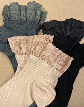 Calzini corti Romantic Lace, grigio antracite, , LOVABLE