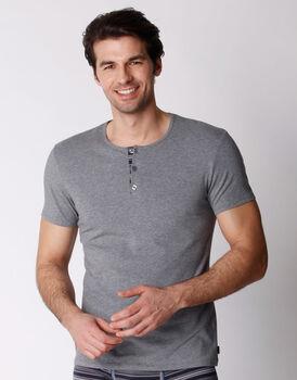 T-shirt in cotone elasticizzato, grigio melange, , LOVABLE