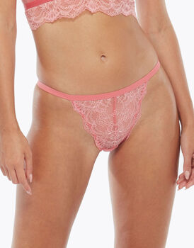 Tanga in pizzo e tulle, coral pink, , LOVABLE