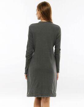Camicia da notte maniche lunghe, grigio in costina di cotone operata-LOVABLE