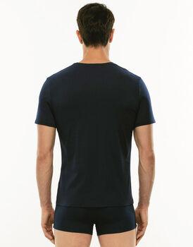 T-shirt girocollo Premium Cotton blu in cotone elasticizzato di alta qualità-LOVABLE