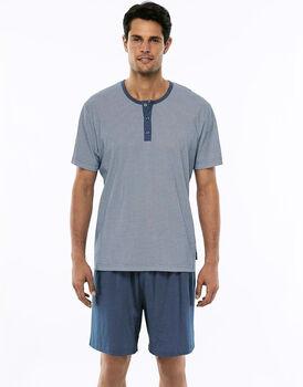 Pigiama manica e gamba corta blu polvere stampato in jersey di cotone con coulisse in vita-LOVABLE