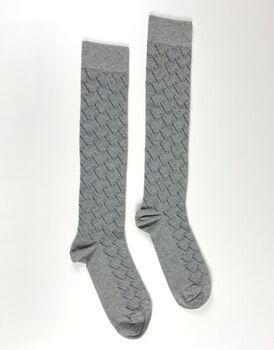 Calza uomo lunga, grigio melange + stampa mazze da golf, , LOVABLE