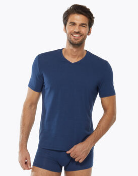T-shirt Graceful con scollo a V in cotone modal, blu royal, , LOVABLE