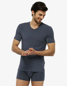 T-shirt manica corta grigio acciaio in micromodal, con scollo a V-LOVABLE