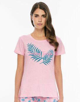 Maglia manica corta rosa lotus in jersey di cotone con stampa piazzata-LOVABLE