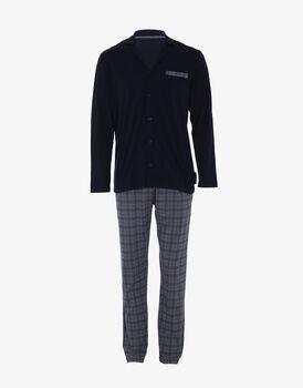 Pigiama manica e gamba lunga blu navy e check grigio acciaio, aperto, in jersey di cotone-LOVABLE