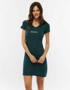 Camicia da notte manica corta, verde, in viscosa-LOVABLE
