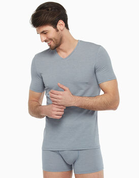T-shirt in micromodal, blu con micro rombi, , LOVABLE
