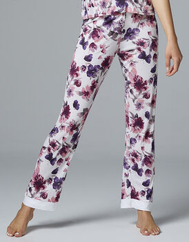 Pantalone lungo in tessuto 100% modal stampato, stampa fiori, , LOVABLE