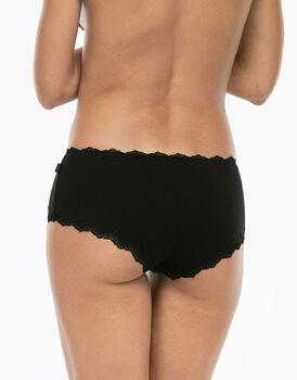 Culotte Lovely nero in cotone elasticizzato con pizzo-LOVABLE