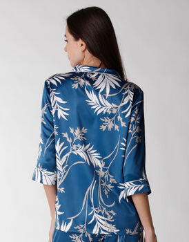 Camicia del pigiama donna in satin, stampa foliage, , LOVABLE