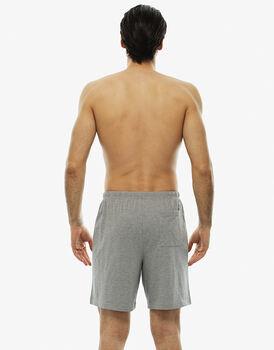 Pantalone corto grigio melange in jersey con coulisse in vita-LOVABLE