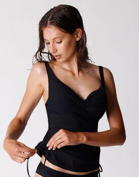 Costume tankini in microfibra filato di nylon riciclato, nero, , LOVABLE