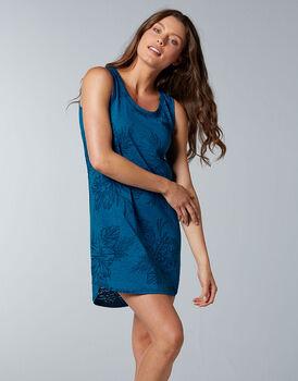 Camicia da notte smanicata Printed Devorè, blu zaffiro, , LOVABLE