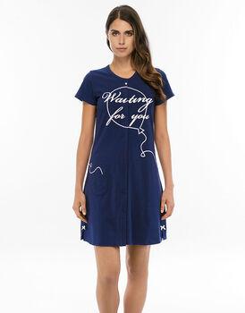 Camicia da notte aperta manica corta blu navy in jersey di cotone con spacchi con fiocchi-LOVABLE