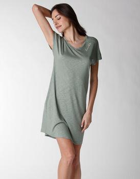 Camicia da notte manica corta in viscosa, verde, , LOVABLE
