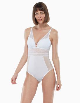 Body in pizzo elastico, tulle e microfibra, bianco, , LOVABLE
