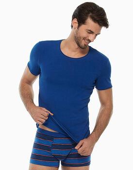 T-shirt manica corta collo rotondo, blu royal, in cotone fiammato-LOVABLE