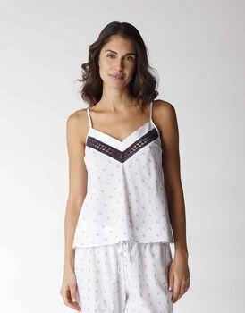 Top scollo a v in jacquard con inserto balzina crochet, bianco, , LOVABLE