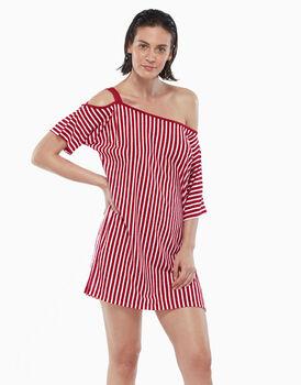 Maxi t-shirt con spallina, righe rosse, in viscosa fiammata stampata, , LOVABLE