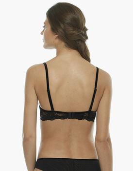 Reggiseno push up medio, nero, in velluto elastico, balza pizzo elastico e tulle elastico, spalline incrociabili sul retro, , LOVABLE