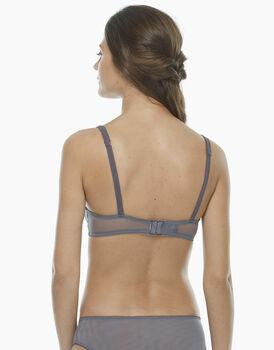 Reggiseno ferretto senza imbottitura grigio scuro, in tulle ricamato, raso elasticizzato e tulle elasticizzato, , LOVABLE