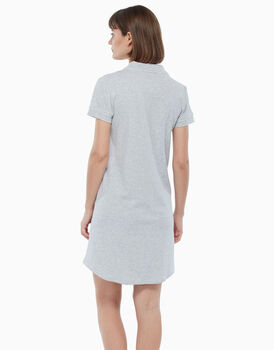 Camicia da notte aperta in jersey di cotone, grigio melange, , LOVABLE