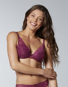 Reggiseno in pizzo con ferretto Flower Lace, ciliegia, , LOVABLE