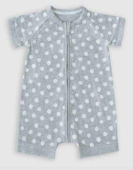 Pagliaccetto con zip in cotone elasticizzato, colore grigio con pois bianchi, , LOVABLE