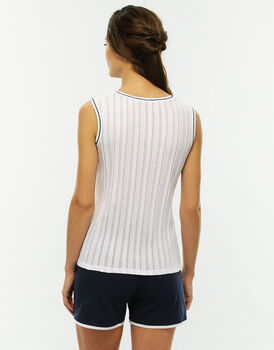 Pigiama smanicato gamba corta, blu e bianco, in jersey, scollo serafino-LOVABLE