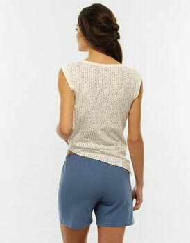Pigiama smanicato gamba corta, fantasia pois multicolor, in jersey 100% cotone, scollo serafino-LOVABLE