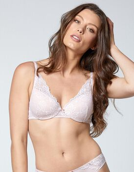 Reggiseno con ferretto Flower Lace in pizzo e microfibra, color neutro, , LOVABLE