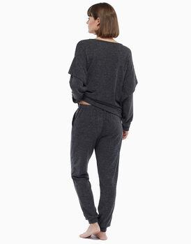 Maglia oversize manica lunga vestibilità comfort, grigio melange, in angora , , LOVABLE