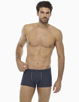 Short boxer blu notte stampato in cotone modal-LOVABLE