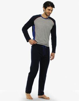 Pigiama manica e gamba lunga blu notte in jersey-LOVABLE