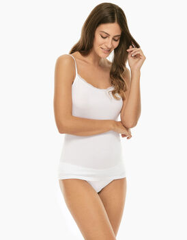 Top Basic Soul bianco in viscosa e pizzo-LOVABLE