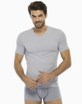 T-shirt manica corta grigio ghiaccio in cotone modal, scollo a V-LOVABLE