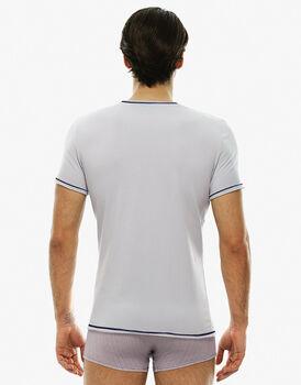 T - shirt manica corta ghiaccio, in cotone elasticizzato con scollo a V, , LOVABLE