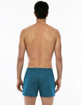 Boxer stampa check su petrolio in tela di cotone-LOVABLE