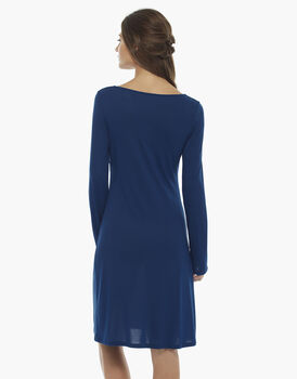 Camicia da notte manica lunga, bluette, in jersey modal, , LOVABLE