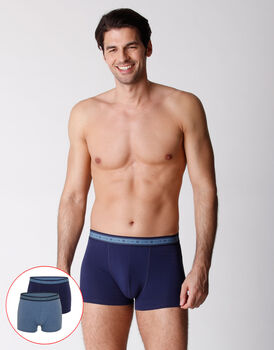 Boxer uomo in cotone biologico, confezione x2 blu melange, , LOVABLE