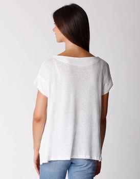 T-shirt manica corta in cotone e lino, bianca, , LOVABLE