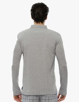Maglia manica lunga grigio melange in interlock con collo a polo-LOVABLE