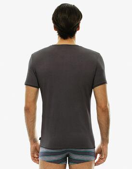 T-shirt manica corta collo rotondo, grigio, in cotone fiammato-LOVABLE