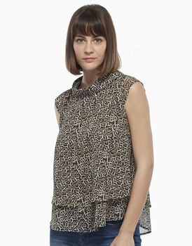 Smanicato mezza manica conchiglia stampa animalier, in georgette, , LOVABLE