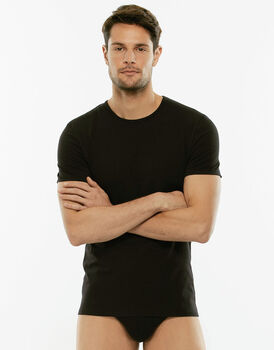 T-Shirt girocollo Cotton Stretch nero in cotone elasticizzato-LOVABLE