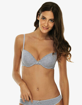 Reggiseno imbottito push up Easy Style Basic Cotton, grigio melange, in cotone-LOVABLE