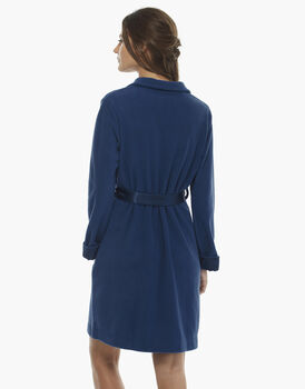 Vestaglia bluette in pile con collo alto , , LOVABLE